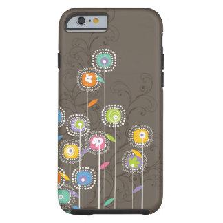 Fundo retro bonito colorido de Brown das flores Capa Tough Para iPhone 6