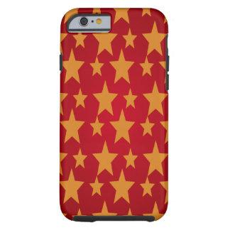 Fundo vermelho & estrelas amarelas capa tough para iPhone 6