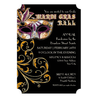 Fundraiser do partido da gala da bola do carnaval convite