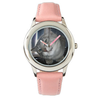Funny_Cat_Face, _Kids_Pink_Leather_Watch. Relógio