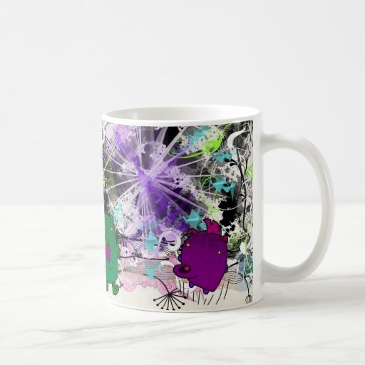 funny monsters art caneca