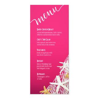 """Fuschia do menu   do casamento de praia da rede da convite 10.16"""" x 23.49cm"""