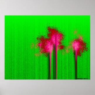 Fushia Splats no poster ácido do abstrato do verde
