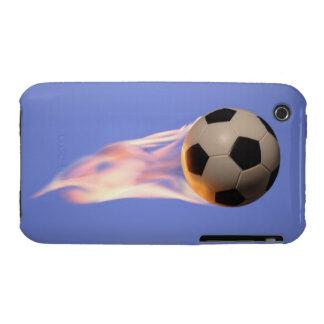 Futebol da chama capas para iPhone 3 Case-Mate