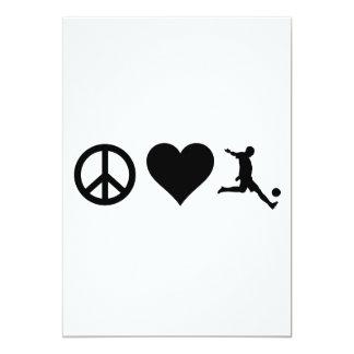 Futebol do amor da paz convite 12.7 x 17.78cm