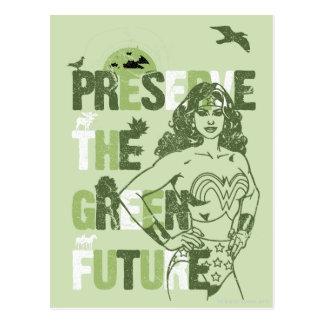 Futuro verde da mulher maravilha cartão postal