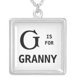 G é para o pendente do monograma da avó Monogramme Colar Com Pendente Quadrado