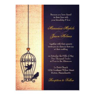Gaiola de pássaro fantástica com casamento da fita convite 16.51 x 22.22cm