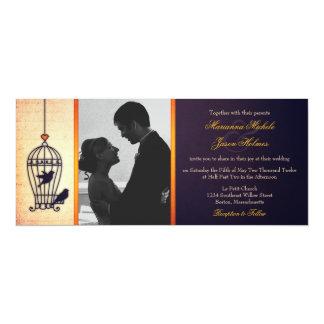 Gaiola de pássaro fantástica com casamento da foto convite 10.16 x 23.49cm