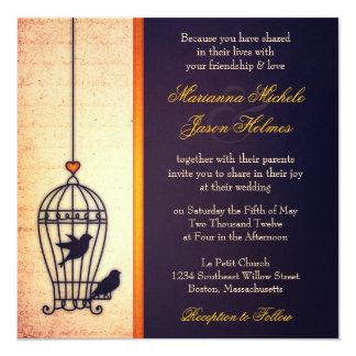 Gaiola de pássaro fantástica com casamento do convite quadrado 13.35 x 13.35cm