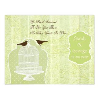 Gaiola de pássaro verde chique, pássaros RSVP do a Convites