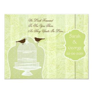 Gaiola de pássaro verde chique, pássaros RSVP do Convite 10.79 X 13.97cm
