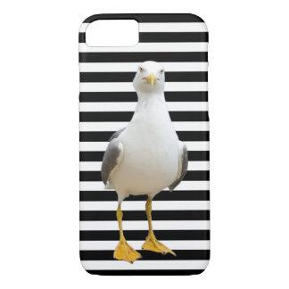 Gaivota bonito em listras preto e branco capa iPhone 8/7