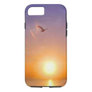 Gaivota solitária do por do sol do oceano capa iPhone 8/7