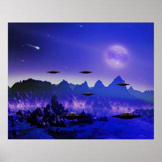 Galáxia do UFO no espaço Pôsteres