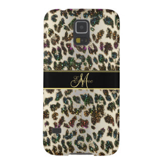 Galáxia S5 do leopardo do brilho do arco-íris mais Capa Para Galaxy S5