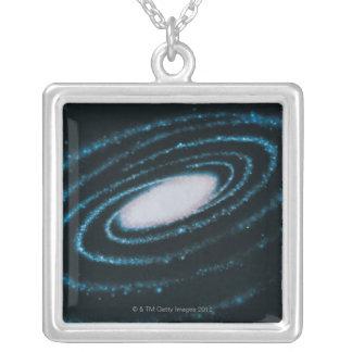 Galáxias ativas colar banhado a prata