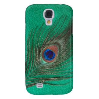 Galaxy S4 Case Caso vívido de Htc da pena verde do pavão