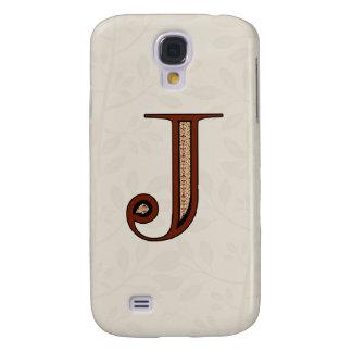 Galaxy S4 Case Letra J do damasco - vermelho