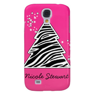 Galaxy S4 Cases Árvore de Natal cor-de-rosa da zebra