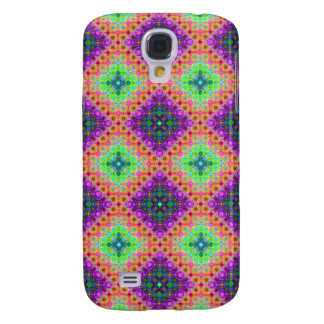 Galaxy S4 Cover Fractal Checkered Pern do roxo & do verde limão