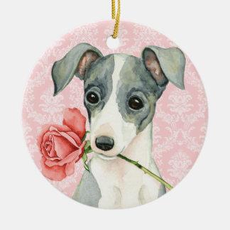 Galgo italiano do rosa dos namorados ornamento de cerâmica redondo