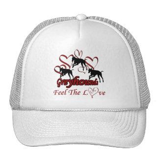 Galgos e chapéu do cão do amor dos corações boné