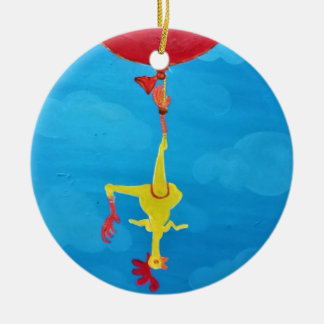 Galinha de borracha de suspensão ornamento de cerâmica redondo