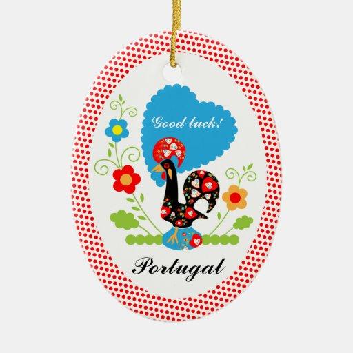 Galo português da sorte ornamento para arvore de natal