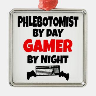 Gamer Phlebotomist Ornamento Quadrado Cor Prata