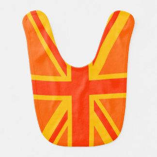 Ganhos britânicos alaranjados felizes da bandeira babadores