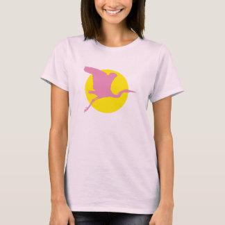 Garça-real cor-de-rosa camisetas