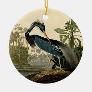 Garça-real de Audubon Louisiana Ornamento De Cerâmica Redondo