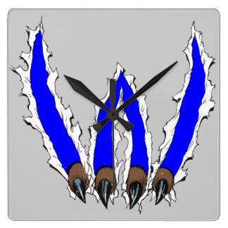 Garra que rasga-se com o design - azul dos Wildcat Relógios Para Pendurar