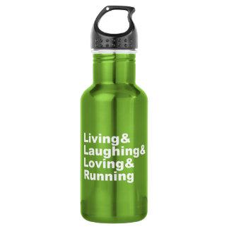Garrafa D'água Living&Laughing&Loving&RUNNING (branco)