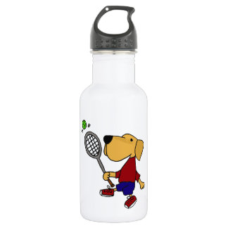Garrafa De Aço Inoxidável Cão amarelo engraçado de Labrador que joga
