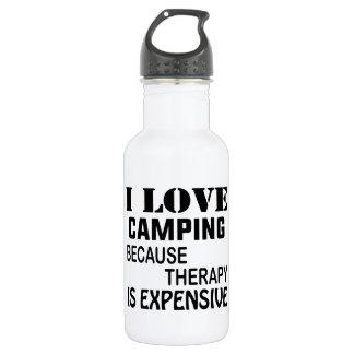 Garrafa De Aço Inoxidável Eu amo acampar porque a terapia é cara