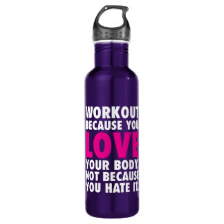 Garrafa De Aço Inoxidável Exercício porque você ama seu corpo - inspirador