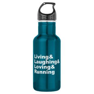 Garrafa De Aço Inoxidável Living&Laughing&Loving&RUNNING (branco)