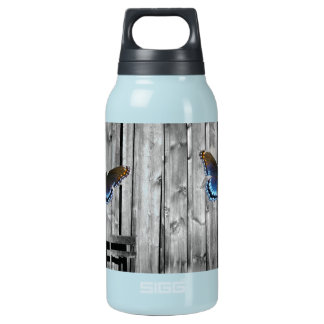 Garrafa De Água Térmica Borboleta de madeira resistida afligida do azul da