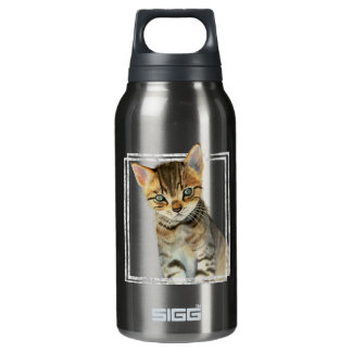 Garrafa De Água Térmica Pintura do gatinho do gato malhado com quadro de