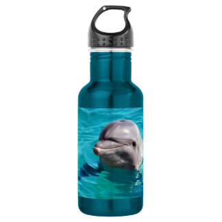 Garrafa Golfinho na foto da água azul