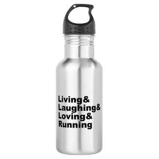 Garrafa Living&Laughing&Loving&RUNNING (preto)