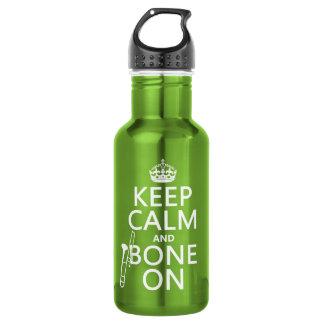 Garrafa Mantenha calmo e 'osso em (trombone - alguma cor)