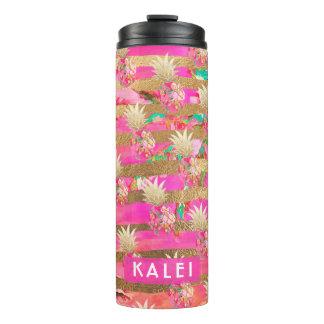 Garrafa Térmica Abacaxis de PixDezines Aloha/rosa quente+Ouro do