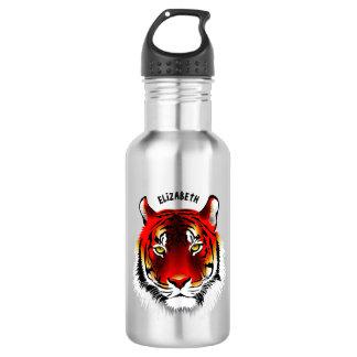Garrafa Tigre vermelho colorido com tiragem amarela dos