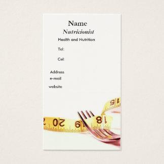 Gatfo e fita Nutricionista Cartão De Visitas