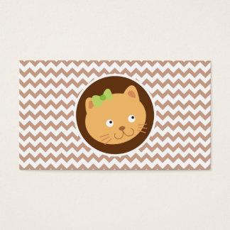 Gatinho; Brown Chevron Cartão De Visitas