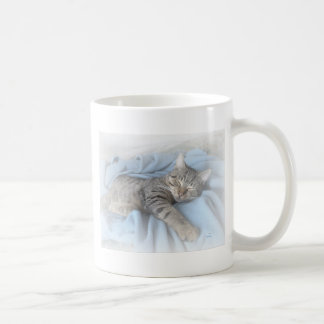 Gatinho sonolento caneca de café