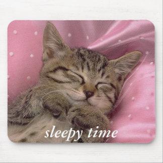 gatinho sonolento do tapete do rato do tempo mouse pads